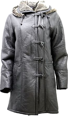 Infinity Womens Black Hooded Real Shearling Sheepskin Leather Duffle Coat 5XL
