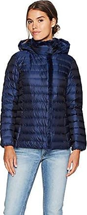 Large Navy Cole Haan Womens Quilted Iridescent Down Coat with Faux Fur Details
