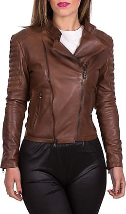 Leather Trend Italy Chiodo Roma - Giacca Donna in Vera Pelle colore Marrone Invecchiato