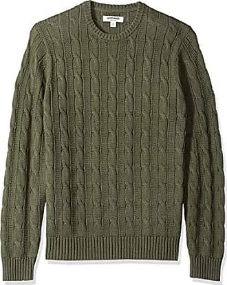 Goodthreads Mens Soft Cotton Cable Stitch Crewneck Sweater, Solid Olive, X-Small