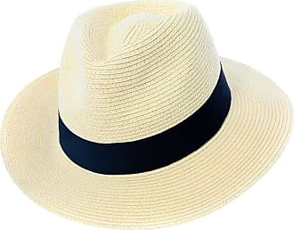 Hawkins Mens or Womens Straw Fedora Hat Crushable Wide Brim Panama Hat Trilby Summer Cap (59 cm) Off-White