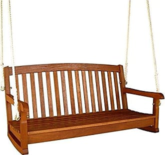 International Caravan Inc TT-SW-006-2-IC Furniture Piece Royal Tahiti Curved Back Wood Two Seated Swing