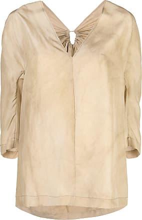 Uma Wang v-neck panelled blouse - Brown
