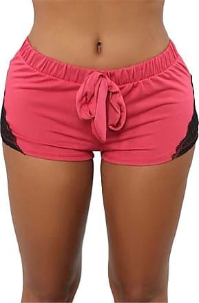 QIYUN.Z Womens Workout Shorts Sexy Lace Stitching Casual Cool Yoga Shorts Orange 3XL