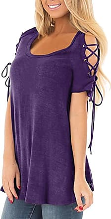 FNKDOR Summer Womens Holiday Outing Cycling Dating Charming Sexy Shirts Cold Shoulder Lace Up Short Sleeve Dressy Tunic Casual Tops Blouse(Purple,UK-18/CN-L)