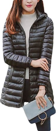 H&E Womens Hoodie Jacket Zipper Packable Lightly Overcoat Quilted Mid Length Parkas Coat Black S