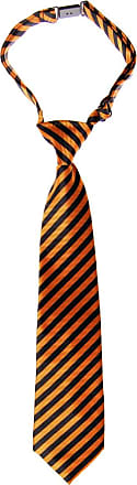 Retreez Striped Woven Pre-tied Boys Tie - Orange and Black Stripe - 4-7 years