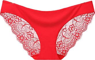 Abetteric Calcinha feminina Abetteric de renda macia, sem aro, de algodão, cintura baixa, pacote com 3, Vermelho, US X-S=China S