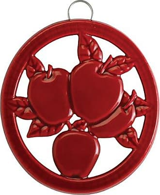 Old Dutch International Two-Tone Red Round Apple Trivet, 7