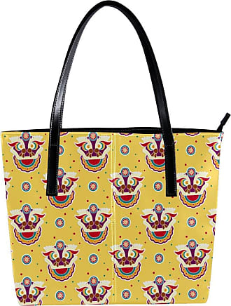 Nananma Womens Bag Shoulder Tote handbag Zipper Purse Top-handle Zip Bags - Funny Lion Dance Seamless Pattern