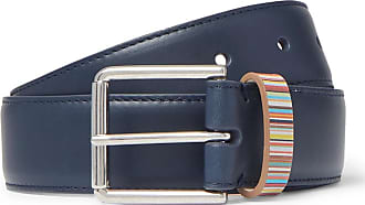 Paul Smith 3cm Navy Stripe-trimmed Leather Belt - Navy