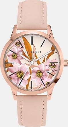 Ted Baker Leather Strap Floral Dial Watch in Light Pink FITZYIA, Womens Accessories