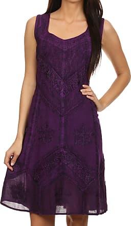 Sakkas 1503 - Sudha Stonewash Embroidery Mid Length Adjustable Dress - Purple - 1X/2X