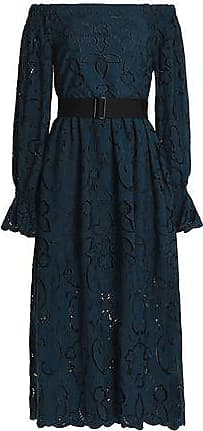 Perseverance London Perseverance Woman Off-the-shoulder Belted Broderie Anglaise Midi Dress Storm Blue Size 6