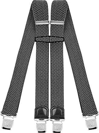 Decalen Mens Braces with Very Strong Clips Heavy Duty Suspenders One Size Fits All Wide Adjustable and Elastic X Style (Light Grey)