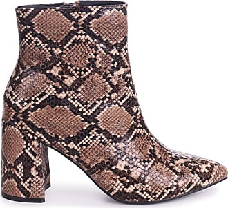 87172f3581ec Linzi Alice - Mocha Snake Block Heeled Boot with Pointed Toe