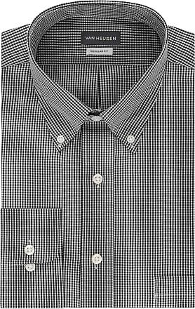 Van Heusen Mens Regular Fit Gingham Button Down Collar Dress Shirt, Black, Medium