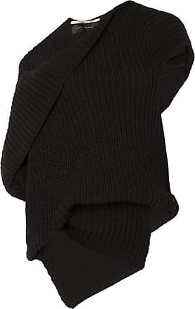 Roland Mouret Moran One-shoulder Draped Ribbed Cotton Sweater - Black