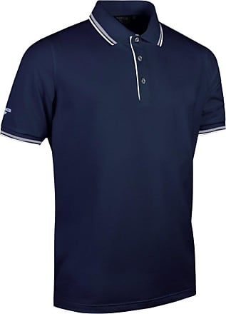Glenmuir Mens Tipped Short Sleeve Moisture Wicking Polo Shirt (XXL) (Navy/White)