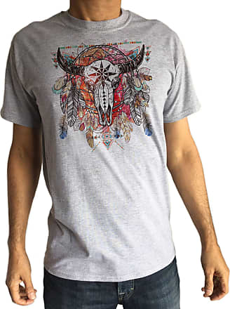 Irony Mens T-Shirt Tribal Red Indian Goat Native American Feathers TS958 (XLarge, Grey)