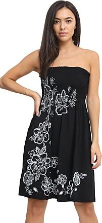 Momo & Ayat Fashions Ladies Floral Sheering Panel Print Bandeau Boobtube Top Strapless Mini Dress UK Size 8-26 (Black, L/XL (UK 16-18))