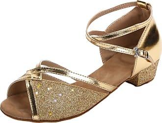 Insun Girls Ballroom Dance Shoes Latin Salsa Performance Shoes Suede Sole Gold 2 12.5 UK Child