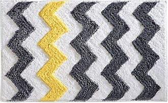 InterDesign Chevron Bath, Machine Washable Microfiber Accent Rug for Bathroom, Kitchen, Bedroom, Office, Kids Room, 34 x 21, Gray and Yellow