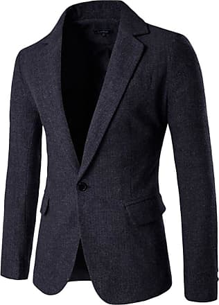 ZongSen Mens Slim Fit Casual One Button Single Breasted Tweed Blazer Business Jacket Black Gray M