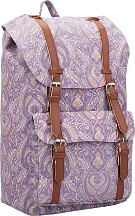 Quenchy London Backpack Casual Daypack for Girls and Women, Medium Canvas School Size A4 Bag 45cm x30x9 25 Litre QL916 (Purple Paisley)