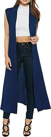 Crazy Girls Ladies Womens Soft Sleeveless Long Open Maxi Boyfriend Collared Cardigan (12-14, Navy)