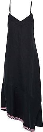 Equipment Equipment Woman Jada Asymmetric Grosgrain-trimmed Silk And Linen-blend Midi Dress Midnight Blue Size XS