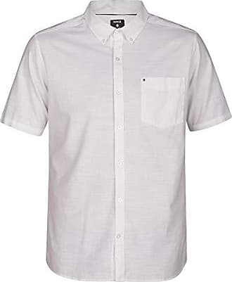 Hurley Mens One & Only Textured Short Sleeve Button Up, White, XL