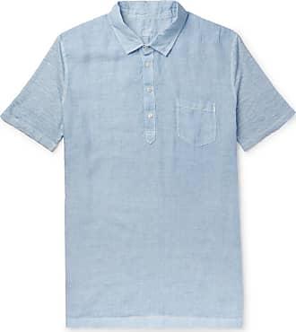 120% CASHMERE Slub Linen Polo Shirt - Blue