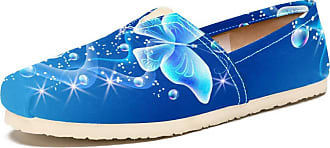 Tizorax Slip on Loafer Shoes for Women Butterflies with Bubbles Comfortable Casual Canvas Flat Boat Shoe, UK Size 6.5