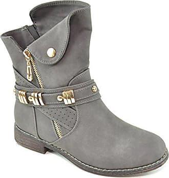 e4a39f44cf67d8 King Of Shoes Damen Stiefeletten Stiefel Schnalle Schlupf Biker Boots  Nieten Reißverschluss Blockabsatz 811 (36