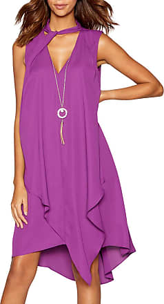 White Label Star by Julien Macdonald Purple Layered Necklace Knee Length Tunic Dress Size 12
