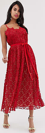 Little Mistress crochet detail strap midi dress-Red