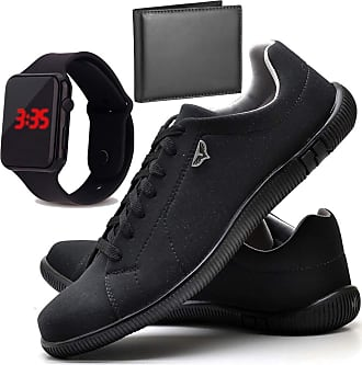 Juilli Kit Sapatênis Sapato Casual Com Relógio LED e Carteira Masculino JUILLI 920DB Tamanho:44;cor:Preto;gênero:Masculino