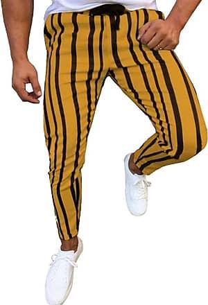 junkai Mens Vintage Retro Striped Trousers Tapered Pencil Pants Yellow 3XL