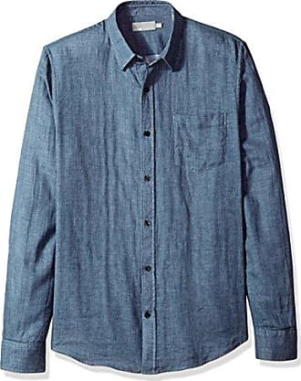 Vince Mens Double Face Long Sleeve Woven, Chambray, M