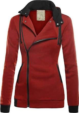 Hellomiko Womens Diagonal Zipper Color Matching Sweater Hoodie Casual Loose Warm Tops