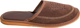 FUTURO FASHION Mens Comfortable Anti-Slip Indoor Leather Shoes Warm Breathable House Slippers FOS113 Brown