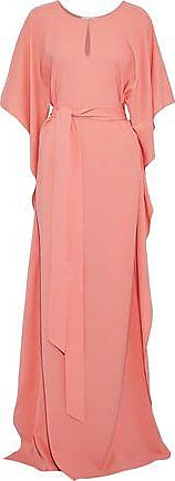 Oscar De La Renta Oscar De La Renta Woman Draped Stretch-silk Gown Peach Size XL