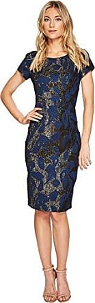 30376d82 Adrianna Papell Womens Metallic Floral Jacquard Sheath Dress with Short  Sleeves, Navy, 6