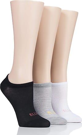 Ladies 3 Pair Elle Striped Cotton No Show Socks