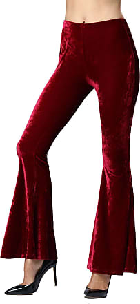 Isshe Womens 60S 70S Burgundy Stretch Bell Bottoms Trousers Flares Hippie Vintage Retro for Ladies Pants