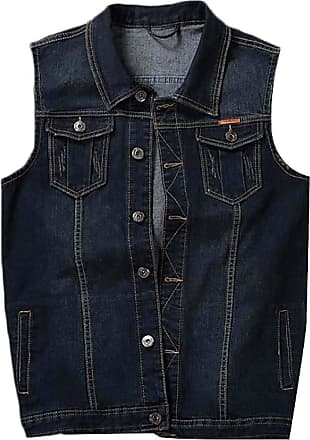 H&E Mens Plus Size Button Down Sleeveless Jean Vest Jacket Denim Vest Black Grey XL