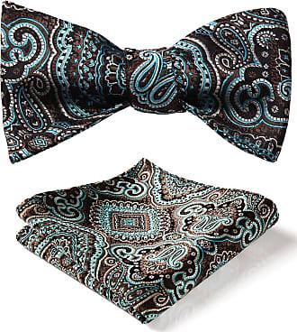 Hisdern Mens Check Paisley Striped Jacquard Self Bow Tie Set
