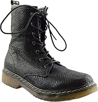 Truffle Buk 2 Black Snake Pu Ankle Vegan Combat Boots[Ladies UK 3 / EU 36]