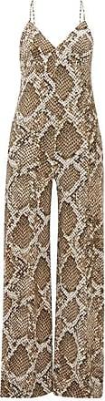 Norma Kamali V-neck Python-print Jumpsuit - Womens - Grey Print